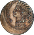 Errors, 1902 1C Indian Cent--Struck 20% Off Center--MS65 Brown NGC....
