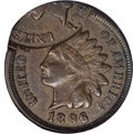 Errors, 1896 Indian Cent--Double Struck, 2nd Strike 70% Off Center--AU55 NGC....