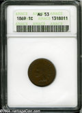 1869 1C AU53 ANACS. A sharply struck example that has deep reddish-brown color and only a whisper of rub on the cheekbon...