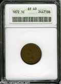 1872 1C XF40 ANACS. Deep tan-green patina. A problem-free Cent that has faint outlines of a few diamonds visible within...