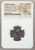 Ancients:Roman Imperial, Ancients: Augustus (27 BC-AD 14). AR denarius (20mm, 3.75 gm, 7h).NGC Choice XF 4/5 - 3/5, bankers mark....