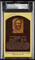 Autographs:Post Cards, Satchel Paige Signed Hall of Fame Plaque, PSA/DNA Authentic....