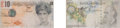 Fine Art - Work on Paper:Print, Banksy X Banksy of England. Di-Faced Tenner, 10 GBP Note(two works), 2005. Offset lithograph in colors on paper. 3 x 5-...