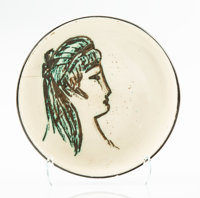 Pablo Picasso (1881-1973) Sylvette, 1955 Faïence ceramic bowl with hand painting and glaze 7 x 7