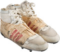 Football Collectibles:Uniforms, Early 1990's Dan Marino Game Worn & Signed Cleats with Unusual Adidas Stripes--Photo Matched!. ...