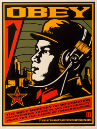 Shepard Fairey (b. 1970) Ministry of Information, 2001 Screenprint in colors on speckled cream paper