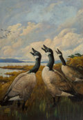 Paintings, Lynn Bogue Hunt (American, 1878-1969). Traveling Companions. Oil on canvas. 26 x 18 inches (66.0 x 45.7 cm). Signed lowe...