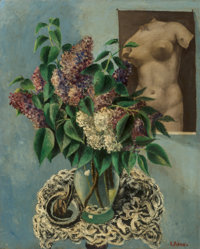 Ernest Fiene (American, 1894-1965) Lilacs Oil on canvas 27 x 22 inches (68.6 x 55.9 cm) Signed