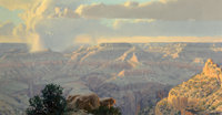 Wilson Hurley (American, 1924-2008) Sunset on the Kaibab Trail, Grand Canyon (triptych), 1990 Oil on