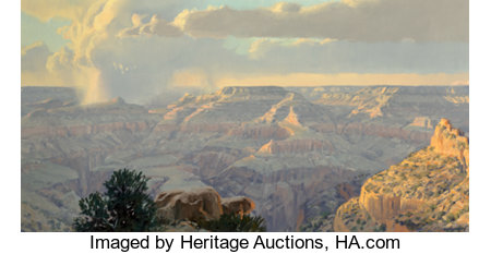 Wilson Hurley (American, 1924-2008) Sunset on the Kaibab Trail, Grand Canyon (triptych), 1990 Oil on canvas, each 24 ... (Total: 3 Items)