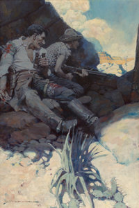 "Frank Earle Schoonover (American, 1877-1972) ""Skinny dragged him over to a crack and settled down for another t"
