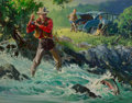 Fine Art - Painting, American, Louis Darling (American, 1916-1970). Fly Fisher. Oil oncanvas. 21-1/2 x 27-1/2 inches (54.6 x 69.9 cm). Signed lower le...