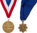 Explorers:Space Exploration, Living Legends of Aviation and The Explorers Club: Gilt Medals with Neck Ribbons Presented to Buzz Aldrin and Originally from ... (Total: 2 )