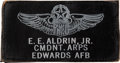 Explorers:Space Exploration, Buzz Aldrin's Edwards AFB Aerospace Research Pilot School Commandant Leather Name Tag Originally from His Personal Collect...