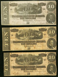 Confederate Notes:1864 Issues, T68 $10 1864 Three Examples Very Fine or Better.. ... (Total: 3 notes)