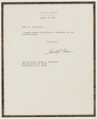 Richard Nixon Souvenir Resignation Letter Signed