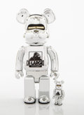 Collectible:Contemporary, BE@RBRICK X XLARGE X Hajime Sorayama. Robot 400% and 100% (Silver) (two works), 2018. Painted cast resin. 10-3/4 x 5...