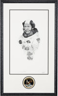 Explorers:Space Exploration, Buzz Aldrin Signed Limited Edition Thomas Smith Print in the Paul Calle Style, #7/200, in Framed Display with Novaspace Certif...