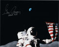 Explorers:Space Exploration, Gene Cernan Signed Apollo 17 Lunar Surface Flag Color Photo, with Novaspace COA....