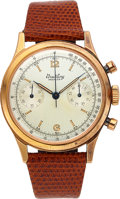 Timepieces:Wristwatch, Breitling, Fine Oversize Premier Chronograph, 18K Rose Gold, Manual Wind, Ref. 777, Circa 1945. ...