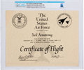 Explorers:Space Exploration, Neil Armstrong's B-1B Bomber Certificate of Flight Directly From The Armstrong Family Collection™, CAG Certified....