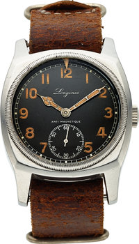 Longines, Rare Czech WWII Military Pilot's Watch, Never Commissioned, Stainless Steel, Manual Wind, Ref. 3582, Circa 193...