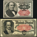 Fractional Currency:Fifth Issue, Fr. 1309 25¢ Fifth Issue VF-XF;. Fr. 1381 50¢ Fifth Issue XF.. ...(Total: 2 notes)