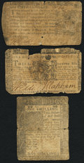 Colonial Notes:Delaware, A Trio of Well Used Colonial Notes from Delaware and Maryland Good or Better.. ... (Total: 3 notes)
