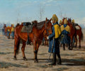 Paintings, William T. Trego (American, 1859-1909). U.S. Calvary Preparing to Ride, 1883. Oil on canvas laid on board. 20 x 24 inche...