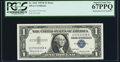 Error Notes:Mismatched Serial Numbers, Mismatched Serial Numbers Fr. 1621 $1 1957B Silver Certificate.PCGS Superb Gem New 67PPQ.. ...