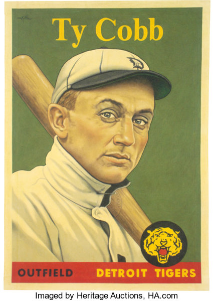 2019 Ty Cobb 1958 Topps Card That Never Was Original Painting By