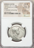 Ancients:Roman Imperial, Ancients: Hadrian (AD 117-138). AR cistophorus (28mm, 9.88 gm, 2h).NGC Choice VF 3/5 - 3/5, overstruck....