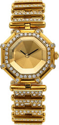 "Timepieces:Wristwatch, Gerald Genta, Rare Lady's ""Success"", 18k YG and Diamond, Ref. 2544.7, Circa 1990's. ..."