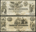 Obsoletes By State:Louisiana, New Orleans, LA- Bank of Louisiana $5, $10 1862 G10a, G14a Fine, Extremely Fine.. ... (Total: 2 notes)
