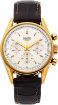 Timepieces:Wristwatch, Heuer, Carrera '64 Re-Issue Chronograph, 18k Yellow Gold, Ref.CS3140, Circa 2000's. ...