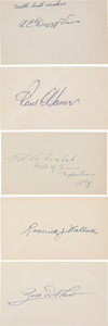 Baseball Collectibles:Others, 1910's-'30's Hall of Famers Signed Index Cards Lot of 5. ...