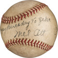 Baseball Collectibles:Balls, 1944 Mel Ott Single Signed Baseball....