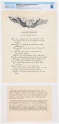 """Explorers:Space Exploration, John Gillespie Magee, Jr.'s Classic Airman's Poem """"High Flight"""" With Typed Note Explaining Its Creation Directly From The Arms..."""