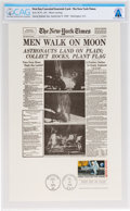 "Explorers:Space Exploration, Apollo 11: New York Times Facsimile ""Men Walk on Moon"" Front Page First Day Canceled Souvenir Card Directly From The Armstrong..."