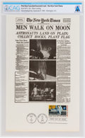 """Explorers:Space Exploration, Apollo 11: New York Times Facsimile """"Men Walk on Moon"""" Front Page First Day Canceled Souvenir Card Directly From The Armstrong..."""