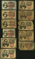 Fractional Currency:Fifth Issue, Eleven Well Used Fractional Notes Totaling $1.15 in Face Value..... (Total: 11 notes)