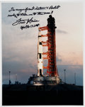 Explorers:Space Exploration, Fred Haise Signed Apollo 13 Launch Vehicle on Pad Color Photo. ...