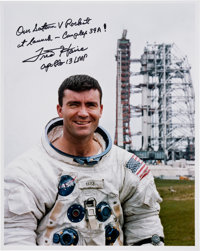 Fred Haise Signed Apollo 13 Pre-Launch White Spacesuit Color Photo
