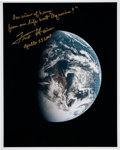 Explorers:Space Exploration, Fred Haise Signed Apollo 13 Color Photo of Earth. ...
