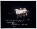 Explorers:Space Exploration, Fred Haise Signed Apollo 13 Damaged Service Module Color Photo. ...