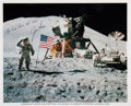 Explorers:Space Exploration, Jim Irwin Signed Apollo 15 Lunar Surface Flag Salute Color Photo, with Handwritten Sentiment. ...
