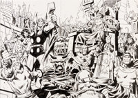 John Buscema Marvel Treasury Edition #3 Double-Page Thor and Heroes of Asgard Pin-Up Illustration Original Art (Ma