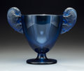 Glass, R. Lalique Frosted Blue Glass Beliers Vase. Circa 1925. Incised R. LALIQUE, FRANCE, 904. M p. 418, No. 904...