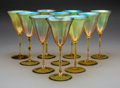 Glass, Set of Ten Tiffany Studios Gold Favrile Glass Wine Glasses. Circa 1920. Engraved L.C.T., Favrile. Ht. 8-1/4 in. (each). ... (Total: 10 Items)