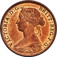 """Canada: Nova Scotia. Victoria """"Large Rose Bud"""" Cent 1861 MS64 Red and Brown PCGS"""
